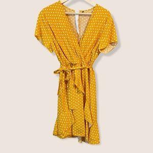 Mustard Yellow Polka-Dot Faux Wrap Dress w Ruffles